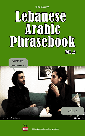 this is the image of the cover of Lebanese Arabic Phrasebook Vol. 2. It is green, with a picture of Hiba Najem conversing with her friend who's asking her 'what's up' in Lebanese, which is 'shou fee ma fee?'. She replies 'rawaq'.
